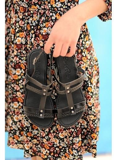Pembe Potin A210-20 Kadın sandalet A210-20 Siyah